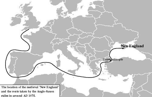 Местоположение средневековой «Новой Англии» и маршрут, который преодолели изгнанники англо-саксы около 1075 года от РХ. © C. R. Green.