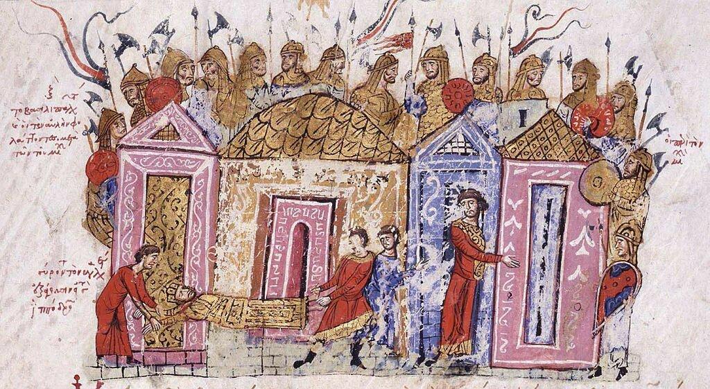 Гвардейцы-варяги в Константинополе, миниатюра из «Хроники» Скилицы